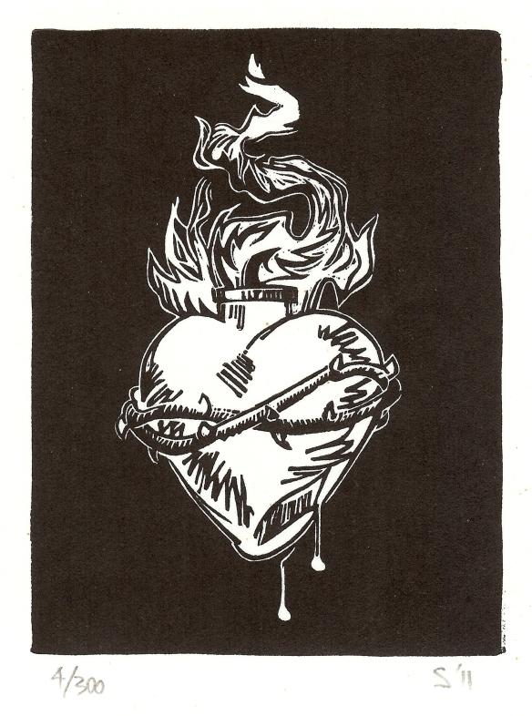 Inked, Simone Tippett, resingrave engraving - Heart III
